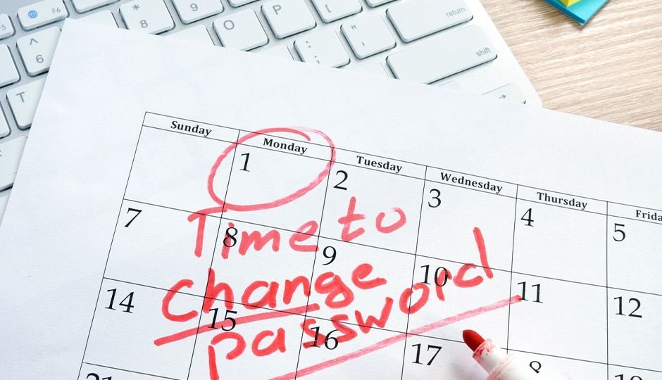 Passwords Change Reminder on Calendar.