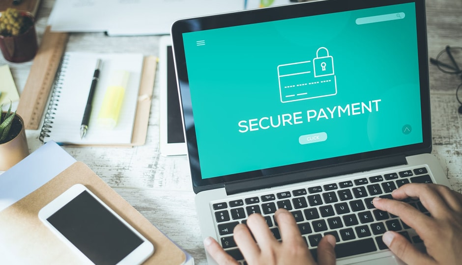 Secure payment screen on computer