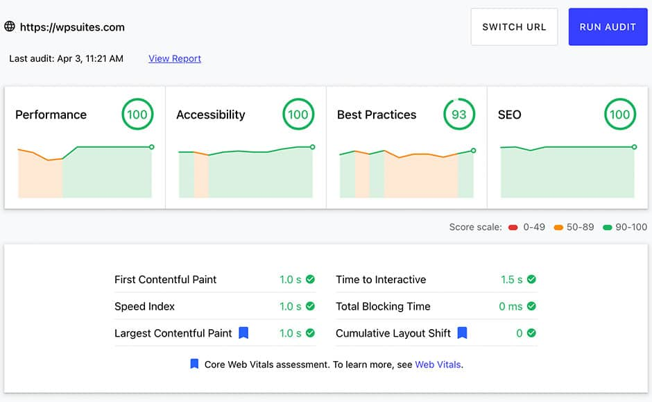WP Suites - Google Core Web Vitals