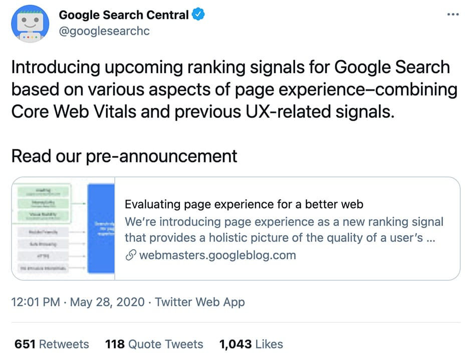 Google Search Console Twitter Announcement
